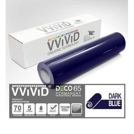 "Dark Blue Gloss Architectural Vinyl Craft Vinyl Decal 12"" x 84"" (7ft) Adhesive Roll for Cricut, Silhouette & Cameo VViViD DECO65"