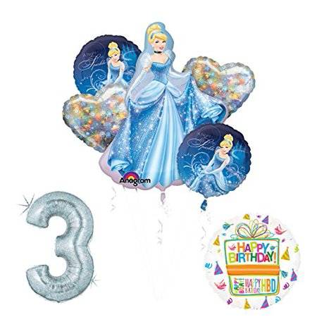 Cinderella 3rd birthday party supplies and princess balloon - Cinderella Birthday Supplies