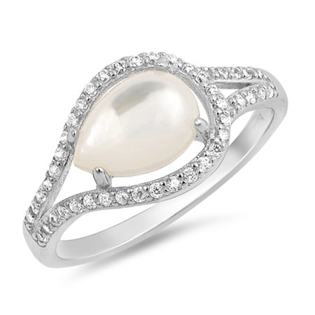 Simulated Mother of Pearl Pear Teardrop Halo Wedding Ring Sterling Silver Band Size 7
