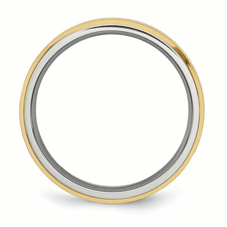 Titanium 5mm Yellow Plated Beveled Edge Brushed/ Wedding Ring Band Size 12.00 Classic Flat W/edge Fashion Jewelry For Women Gifts For Her - image 2 de 10