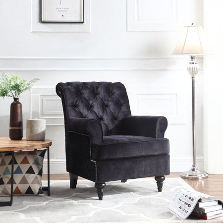 Traditional Tufted Velvet Fabric Accent Chair Living Room