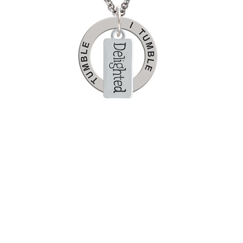 Delighted Rectangle I Tumble Affirmation Ring Necklace