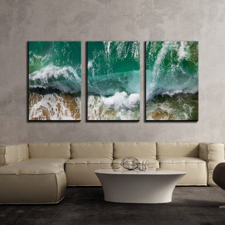 wall26 - 3 Piece Canvas Wall Art - Closeup of Sea Waves with Foam - Modern Home Decor Stretched and Framed Ready to Hang - 24