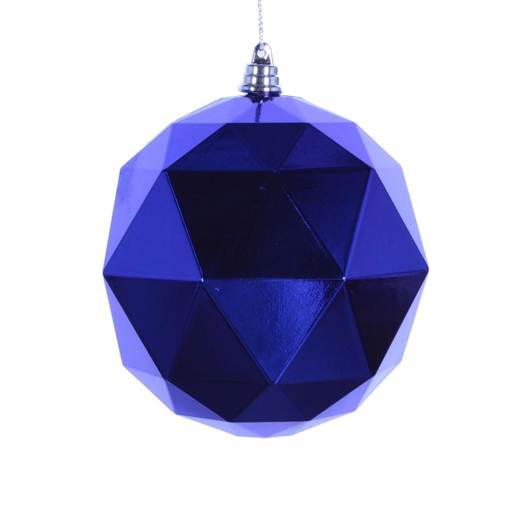 "Vickerman 467077 - 4.75"" Cobalt Blue Shiny Geometric Ball Christmas Tree Ornament (4 pack) (M177322DS)"