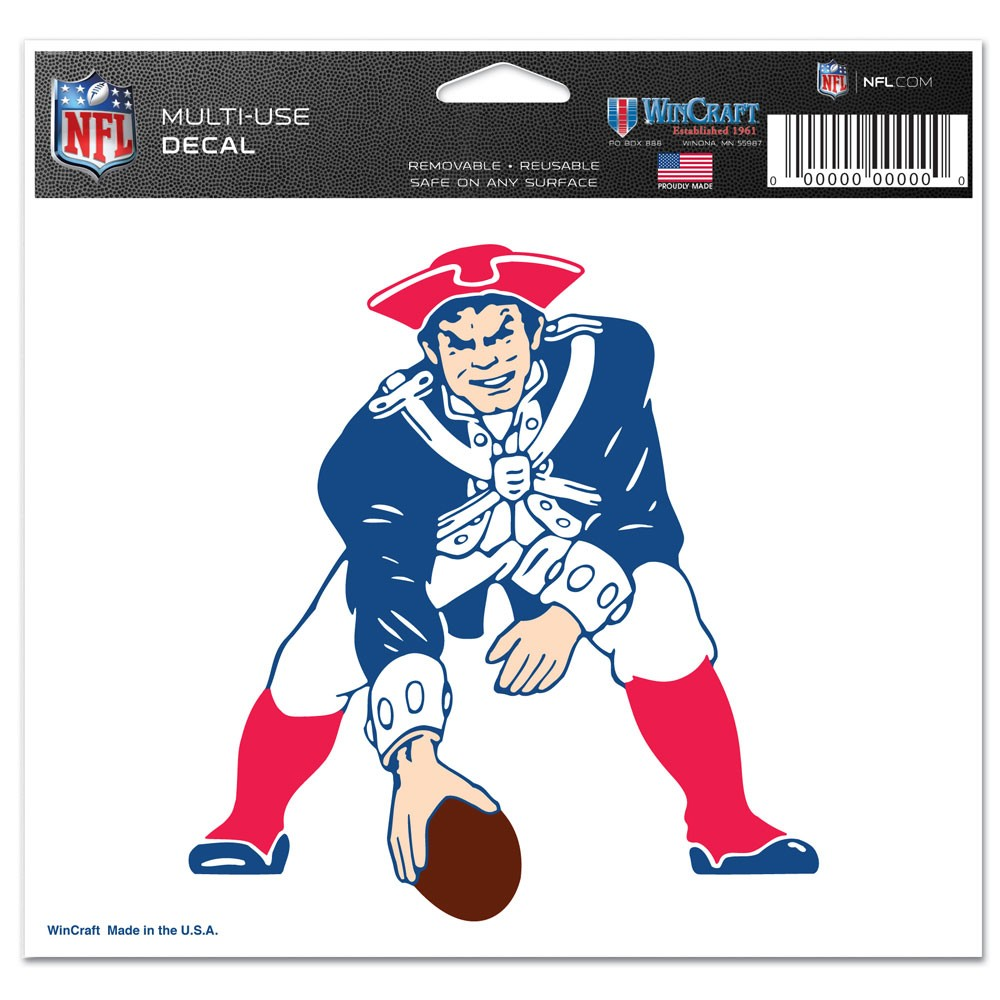 New England Patriots Official NFL 4 inch x 6 inch  Car Window Cling Decal by Wincraft
