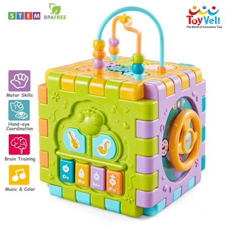 ToyVelt Activity Cube for Toddlers Baby Educational Musical Toy for Kids - Early Development Learning Toys with 6 Different Activities - Best Gift for Children 1 2 3 Years