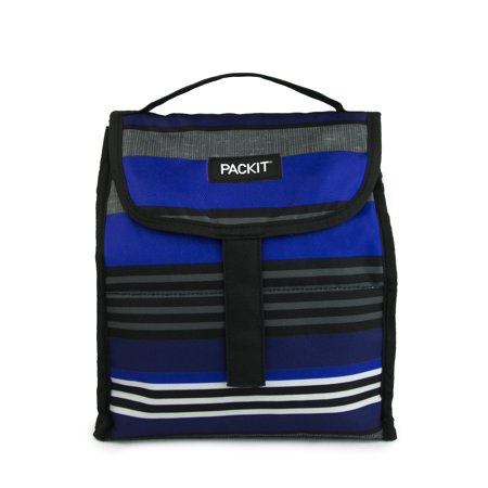 Packit Blue Textured Stripe Foldable Lunch Bag