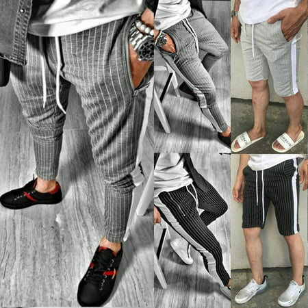 Mens Slim Tracksuit Bottoms Skinny Jogging Joggers Striped Sweat Pants Trousers Cat Track Pant
