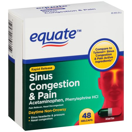 Equate Sinus Congestion   Pain Acetaminophen Rapid Release Gelcaps  325 Mg  48 Ct