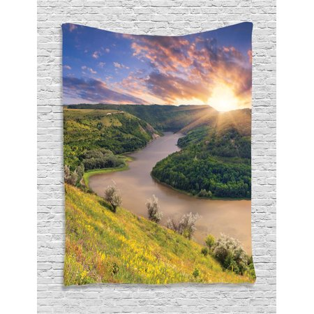 Lake House Decor Wall Hanging Tapestry  Rising Sun Over Calm Riverbed With Lush Trees And Meadows Shrubs Hillside Cloudy Sky  Bedroom Living Room Dorm Accessories  By Ambesonne