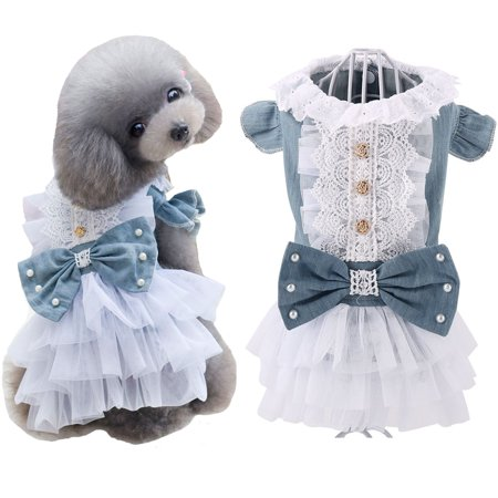 Princess Costume For Dogs (Retro Pet Dog Denim Lace Skirt Party Princess Dress Cat Costumes)