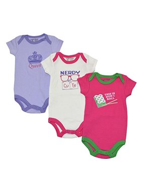 Luvable Friends Baby Girls Statement 3-Pack Bodysuits (6-9M, Assorted)