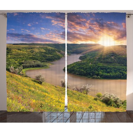 Lake House Decor Curtains 2 Panels Set  Rising Sun Over Calm Riverbed With Lush Trees And Meadows Shrubs Hillside Cloudy Sky  Living Room Bedroom Accessories  By Ambesonne