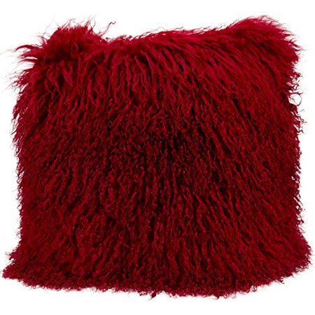 Nourison Couture Fur Tibetan Sheepskin Red Throw Pillow ()