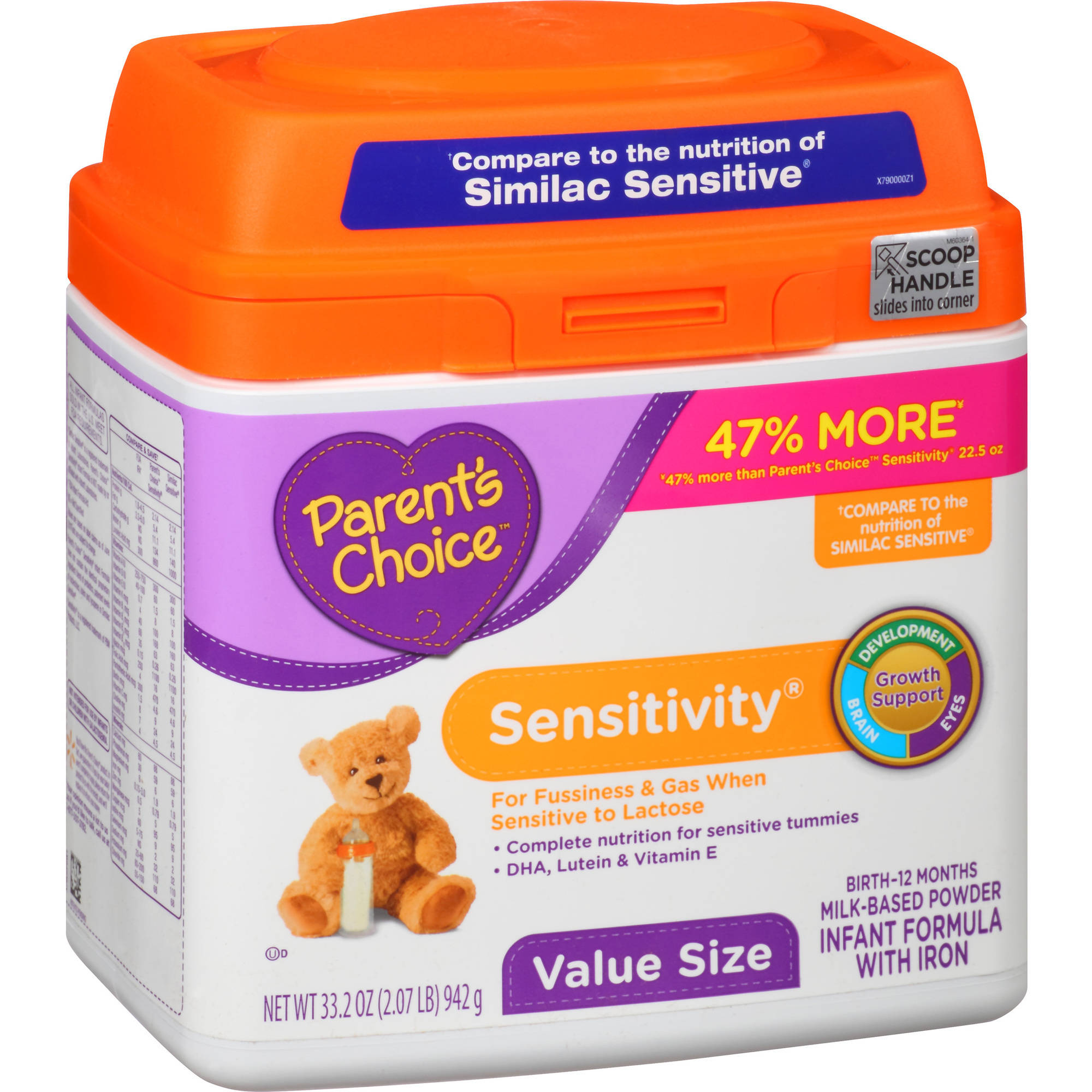 Parent's Choice Sensitivity Powder Infant Formula with Iron , 33.2 oz, (Pack of 4)