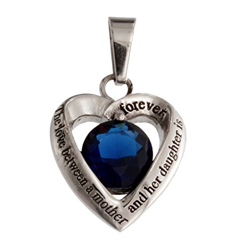 R.H. Jewelry Stainless Steel Mother and Daughter Dark Blue Glass Crystal Heart Pendant Necklace