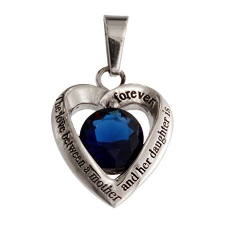 Stainless Steel Mother and Daughter Dark Blue Glass Crystal Heart Pendant Necklace