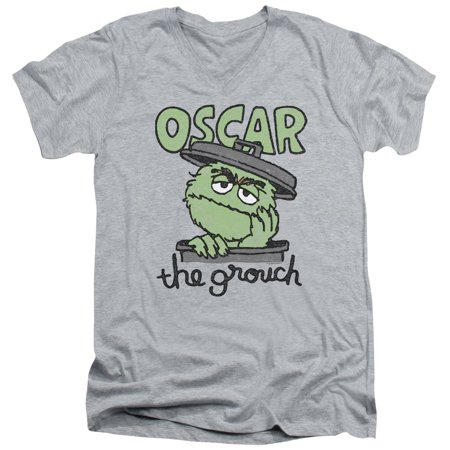 Sesame Street Classic TV Show Canned Grouch Oscar Adult V-Neck T-Shirt Tee