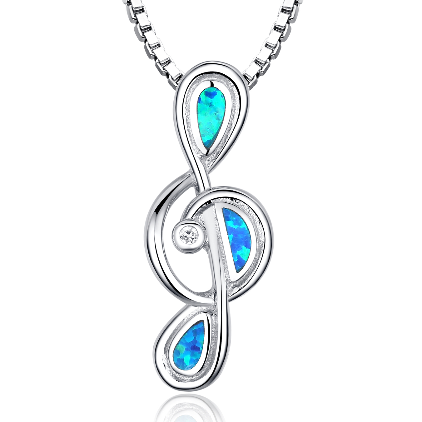 Sterling Silver Music Treble G Clef W. Blue and Green Fire Opal Women's Pendant Necklace Come with 18 Inch 1mm Rhodium... by