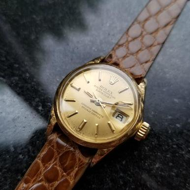 ROLEX Ladies 18K Solid Gold Oyster Perpetual 6520 Datejust c.1966 Swiss