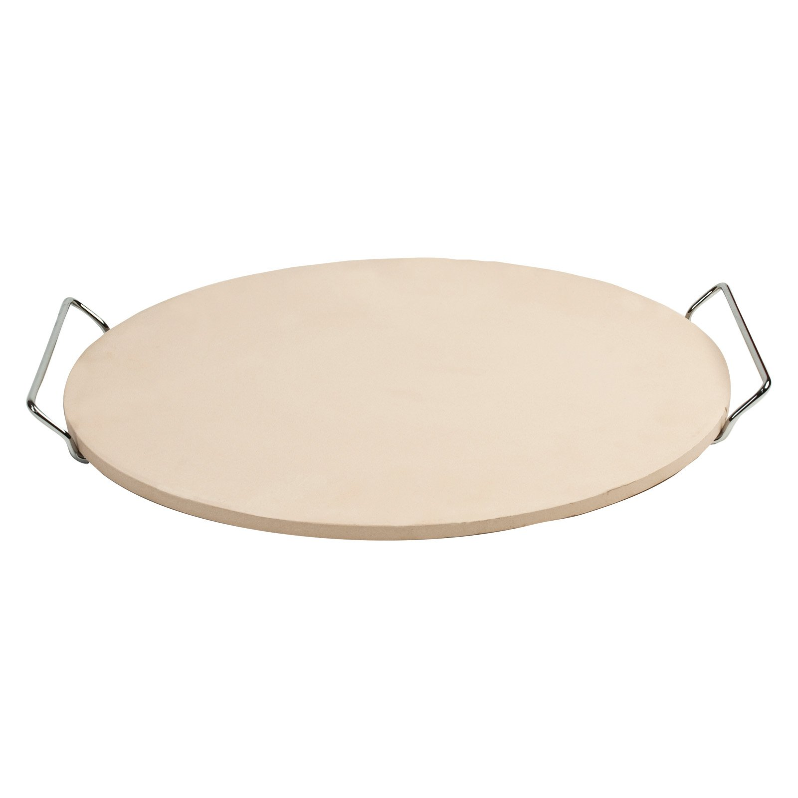 """Pizzacraft 15"""" Round Ceramic Pizza Stone and Baking Stone with Wire Frame, for Oven, Grill, or BBQ-PC0001"""
