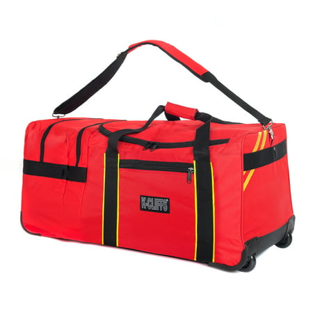 Collection Wheeled Duffel (Rolling Firefighter Gear Bag Fireman Equipment Duffel with Wheels Paramedic Wheeled Travel Bags Helmet Pocket )