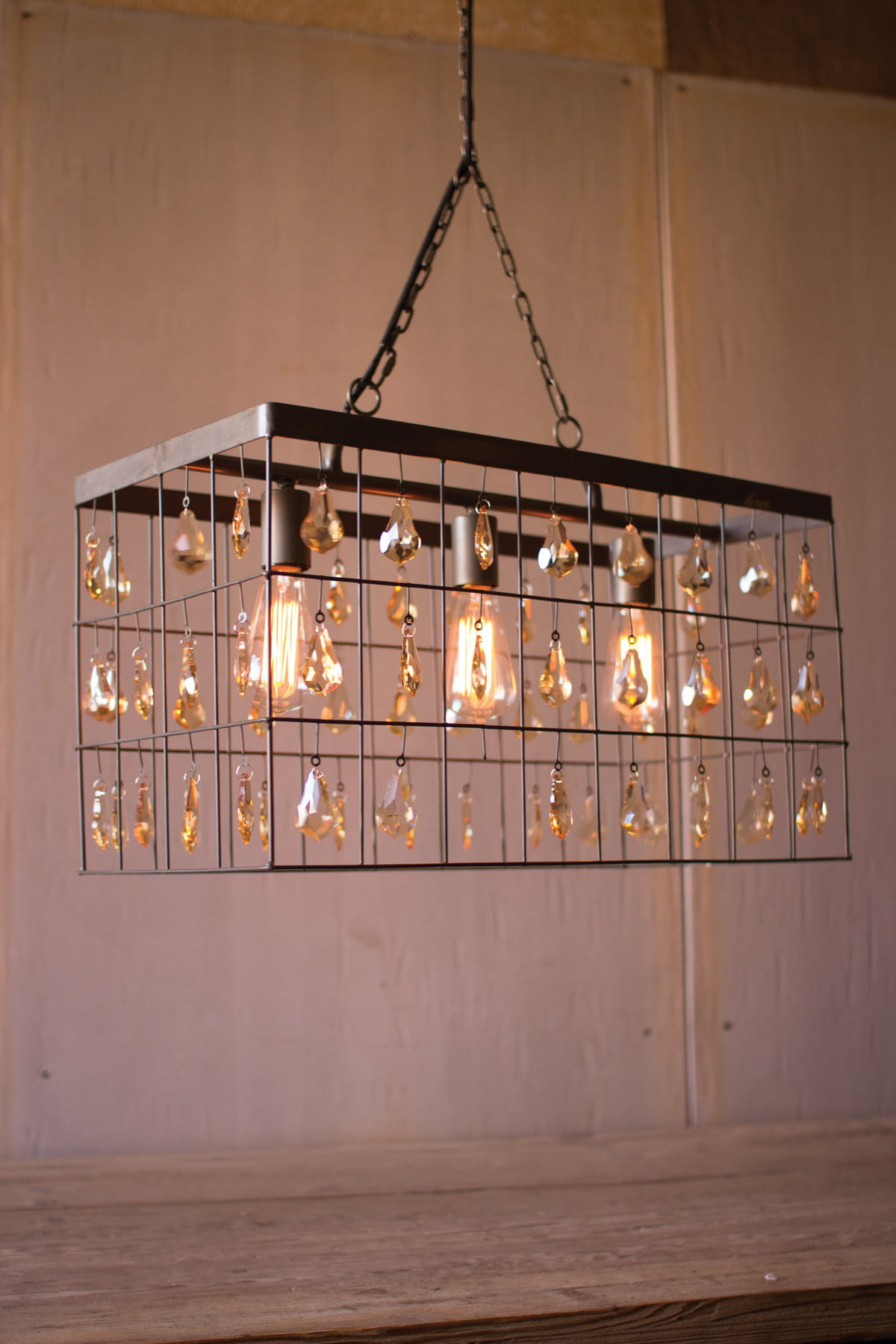 "24"" Long Rectangular Modern Rustic Pendant Chandelier Light with Hanging Crystals by"