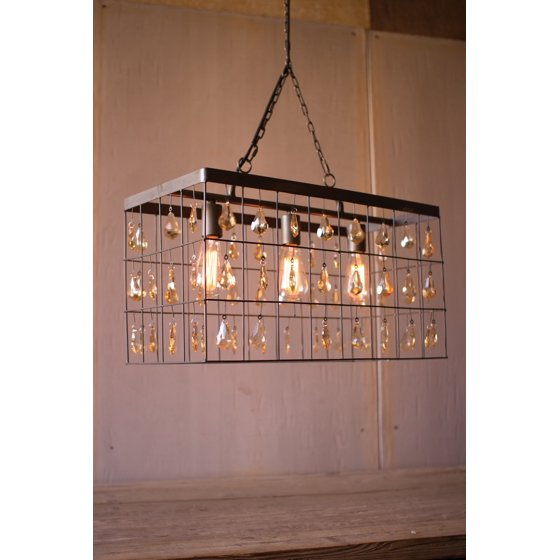 "Red Rectangular Chandelier: 24"" Long Rectangular Modern Rustic Pendant Chandelier"
