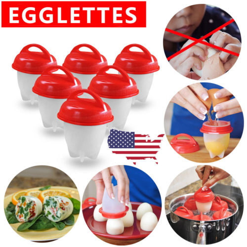 Egglettes Egg Eggies Cooker Hard Boiled Eggs without the Shell 6 Egg Cups Set