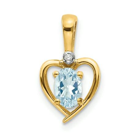 14 Karat Yellow Gold Diamond and Aquamarine Pendant With 18-inch Chain