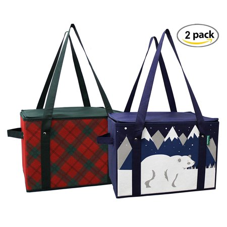 f18d6613 Earthwise Insulated Reusable Grocery Bag - Shopping Box Cooler Tote Winter  and Plaid Design REINFORCED BOTTOM