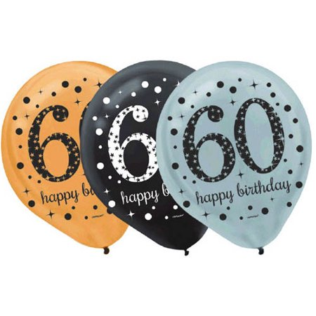 Over the Hill 'Sparkling Celebration' 60th Birthday Latex Balloons (15ct) - Black And Gold 60th Birthday Decorations