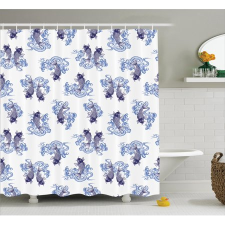 Japanese Decor Shower Curtain Underwater Creature Figure As Love Couples On Waves Unique Sea