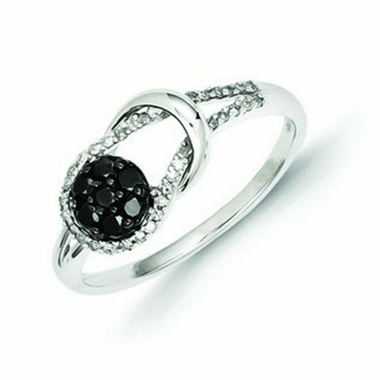 Sterling Silver Black and White Diamond Love Knot Ring - Ring Size: 6 to 8