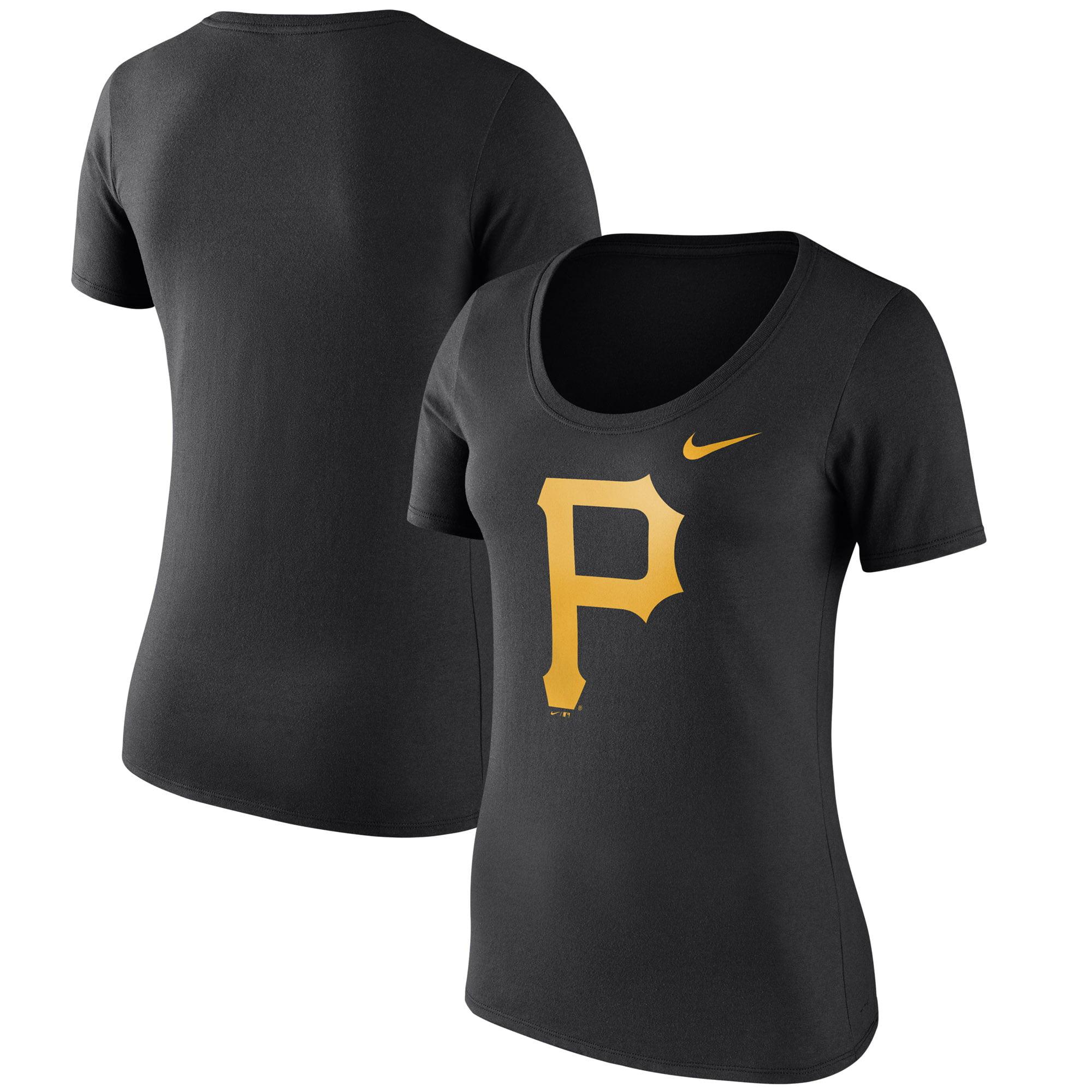 Women's Nike Black Pittsburgh Pirates Logo Scoop Neck T-Shirt