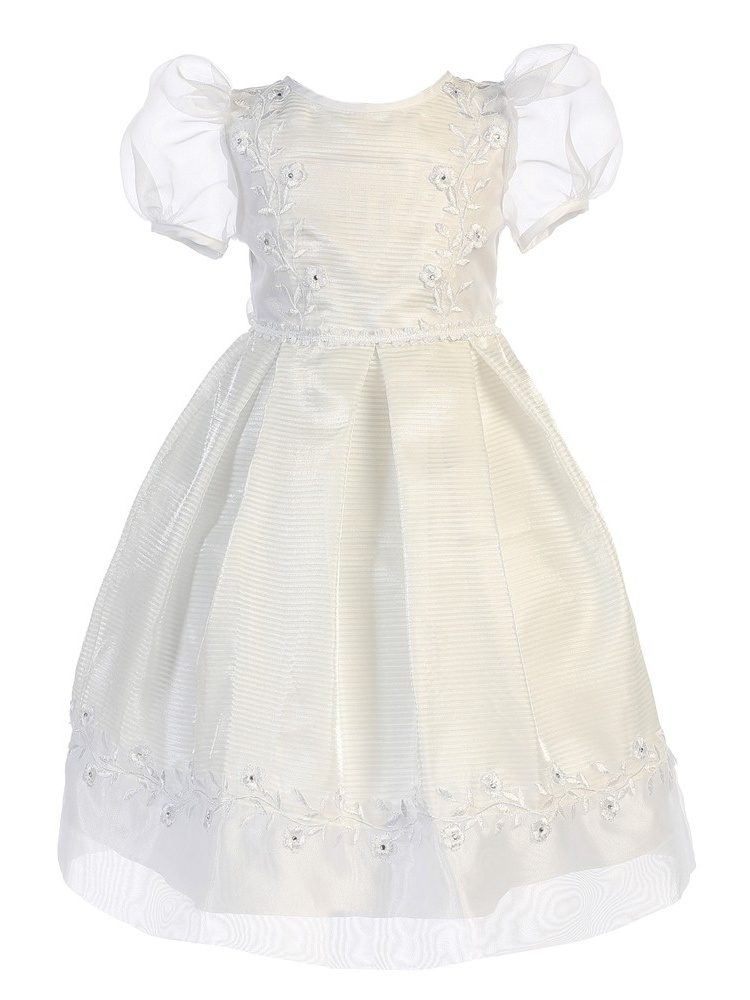 Angels Garment Baby Girls White Organza Lace Trim Special Occasion Dress 12M