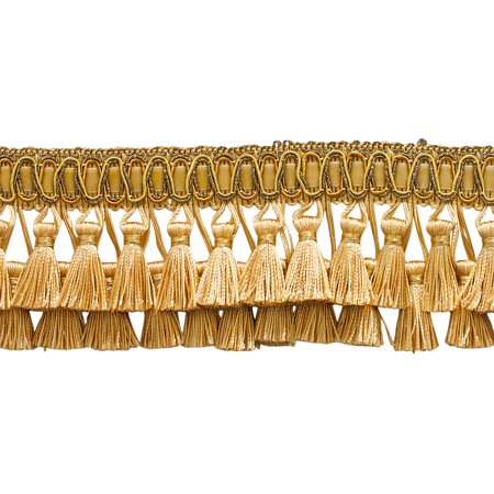 """Elaborate Medium and light Gold 3"""" Two Tier Tassel Fringe - Golden Rays 4875 (Sold by The Yard)"""