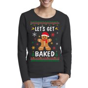 Awkward Styles Xmas Gingerbread Man Ugly Christmas Sweater Long Sleeve T-shirt For Women