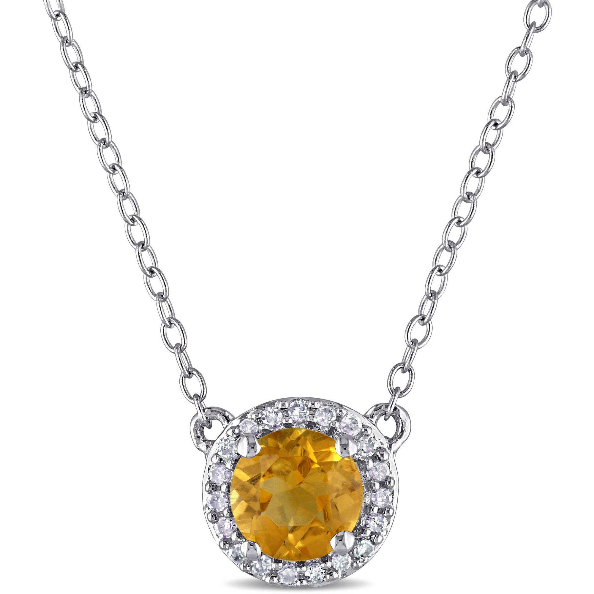 """Tangelo 3 4 Carat T.G.W. Citrine and Diamond-Accent Sterling Silver Halo Necklace, 16"""" by Tangelo"""
