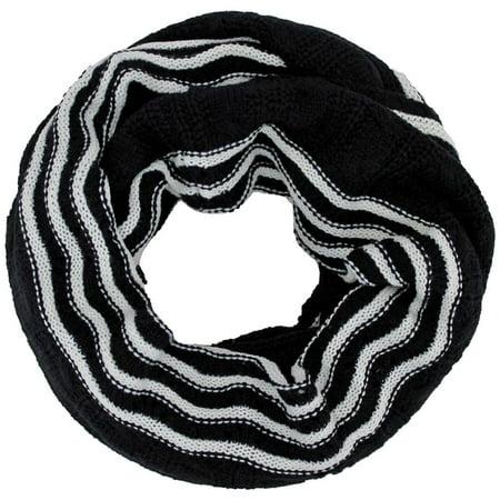 Luxury Divas Black White Striped Cable Knit Unisex Winter