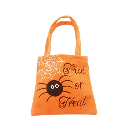 Trick or Treat Bags Happy Halloween Candy Handbag Non-woven Fabric Children Gift Bags (Orange Spider)