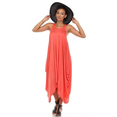 Fashion's Secret Harlem Loose Rayon Spandex Dress (Large, Coral)