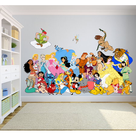 Cartoon Characters Walt Disney Show Decors Wall Sticker Art Design Decal for Girls Boys Kids Room Bedroom Nursery Kindergarten House Fun Home Decor Stickers Wall Art Vinyl Decoration (12x20 inch) Disney Bedroom Decor