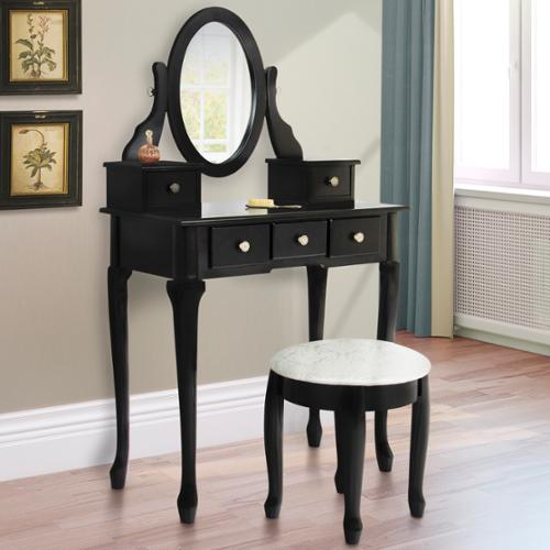 Vanity Table Jewelry Makeup Desk Bench  Drawer Black Solid Wood Construction New