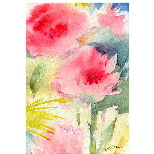 "Trademark Art ""Pink Flowers"" Canvas Art by Sheila Golden, 22x32"