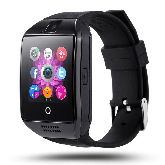 Black Bluetooth Smart Wrist Watch Phone mate for Android Samsung Touch Screen Blue Tooth SmartWatch with Camera for Adults for Kids (Supports [does not include] SIM+MEMORY CARD) Q18 AMAZINGFORLESS
