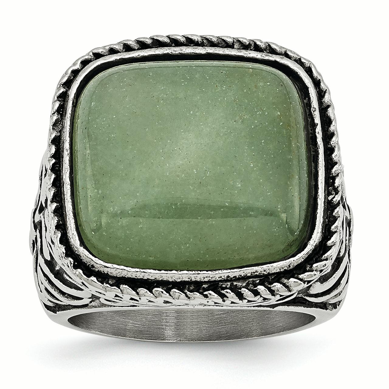 Stainless Steel Antiqued Polished Chalcedony Aventurine Ring by Kevin Jewelers