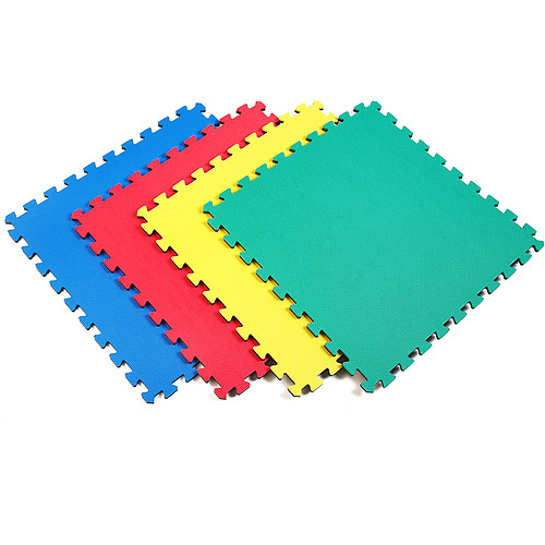 Norsk 240147 Interlocking Multi-Purpose Foam Floor Mats, 16-Square Feet, Solid Multi-Color, 4-Pack