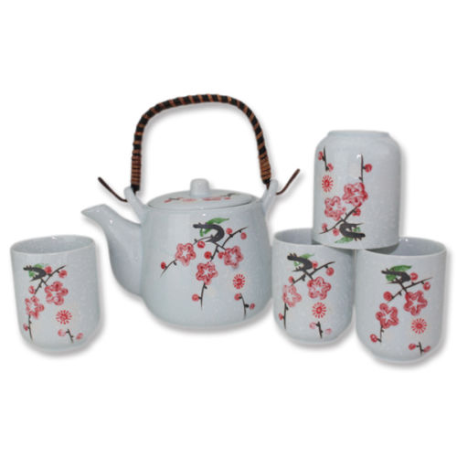 "6"" Japanese Ceramic Tetsubin Teapot & 4 Teacups Infuser Rattan Handle Tea Set by"