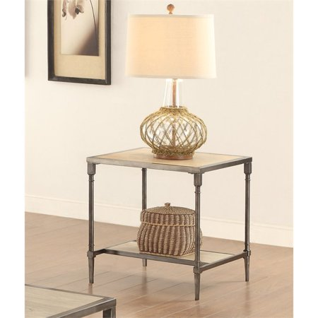 Furniture of America Temara Square End Table in Natural Wood ()